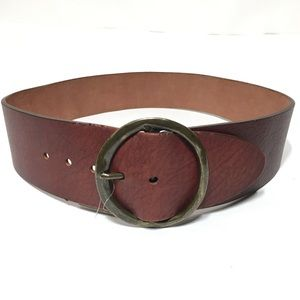 Anthropologie Brown Leather Belt Round Buckle NWT
